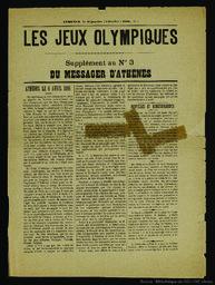Les Jeux Olympiques : supplément du Messager d'Athènes |