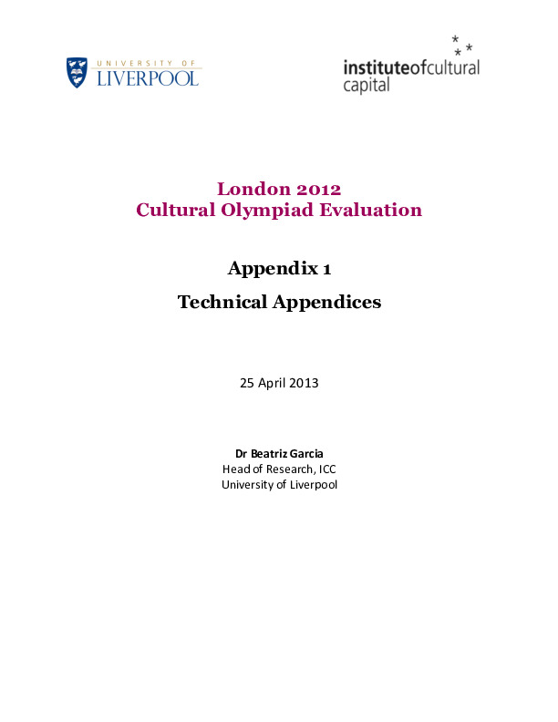 London 2012 Cultural Olympiad evaluation : final report / by Beatriz Garcia | Garcia, Beatriz