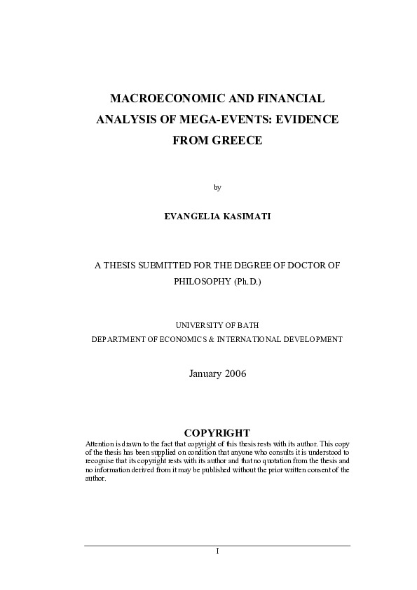 Macroeconomic and financial analysis of mega-events : evidence from Greece / by Evangelia Kasimati | Kasimati, Evangelia