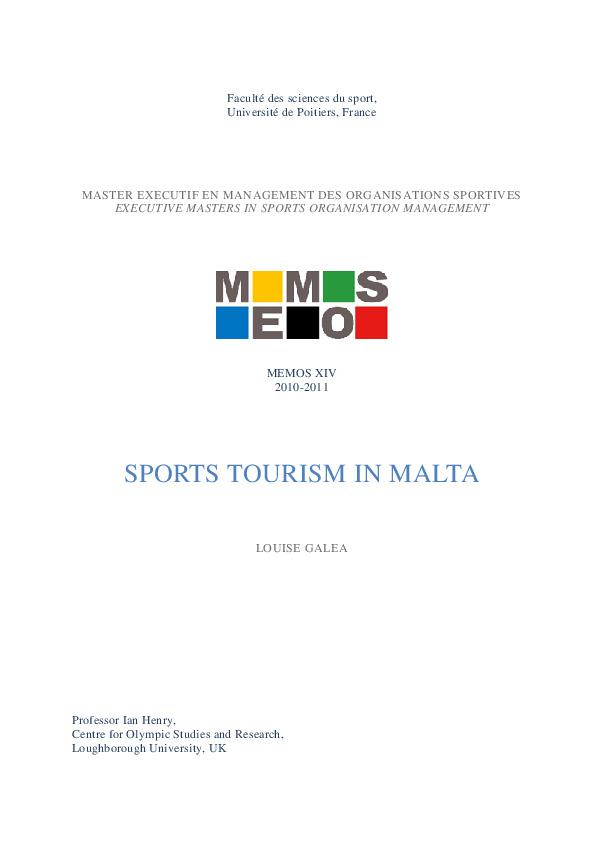Sports tourism in Malta / Louise Galea ; dir. Ian Henry   Galea, Louise