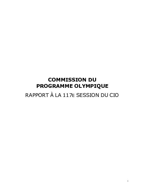 Rapport à la 117e session du CIO : [Singapour juillet 2005] / Commission du programme olympique | Comité international olympique. Commission du programme olympique
