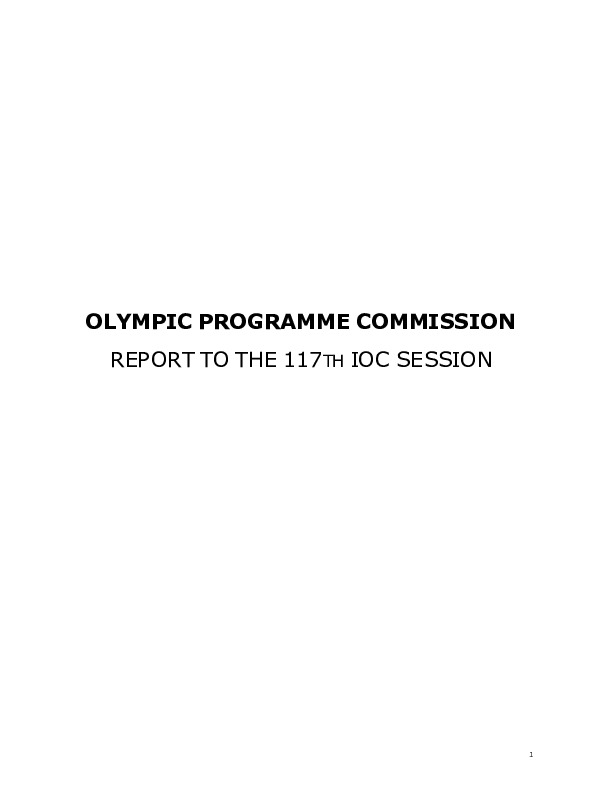Report to the 117th IOC Session : [Singapore July 2005] / Olympic Programme Commission | International Olympic Committee. Olympic Programme Commission