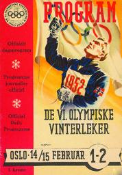 Program de VI. Olympiske vinterleker : offisielt dagsprogram = Programme journalier officiel = Official daily programme / [Organisasjonskomiteen for de VI. Olympiske Vinterleker] | Olympic Winter Games. Organizing Committee. 6, 1952, Oslo