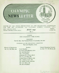 Olympic newsletter : XIVth Olympiad London 1948 / issued by the press department of the Organising Committee for the XIV Olympiad | Summer Olympic Games. Organizing Committee. 14, 1948, London