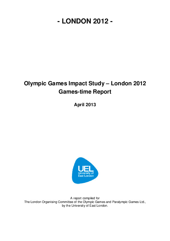 Olympic Games Impact Study – London 2012 / University of East London | University of East London
