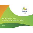 Rio 2016 pictogram application guide : Rio 2016 Olympic Games / Organising Committee for the Olympic and Paralympic Games in Rio in 2016 | Jeux olympiques d'été. Comité d'organisation. 31, 2016, Rio de Janeiro