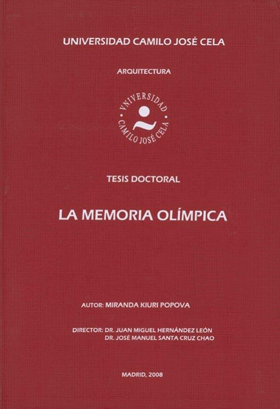 La memoria olimpica : tesis doctoral / Miranda Kiuri | Kiuri Popova, Miranda