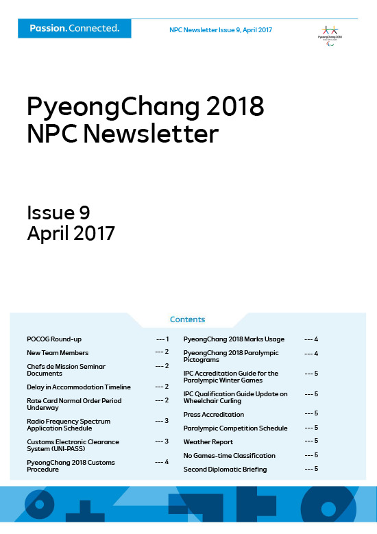 PyeongChang 2018 NPC newsletter / The PyeongChang Organizing Committee for the 2018 Olympic and Paralympic Winter Games | Jeux olympiques d'hiver. Comité d'organisation. 23, 2018, PyeongChang