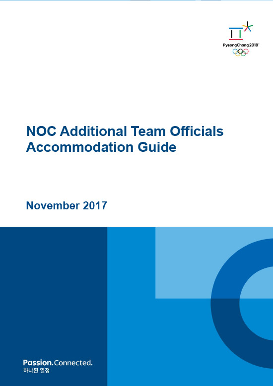 NOC additional team officials accomodation guide / The PyeongChang Organising Committee for the XXIII Olympic Winter Games | Jeux olympiques d'hiver. Comité d'organisation. 23, 2018, PyeongChang