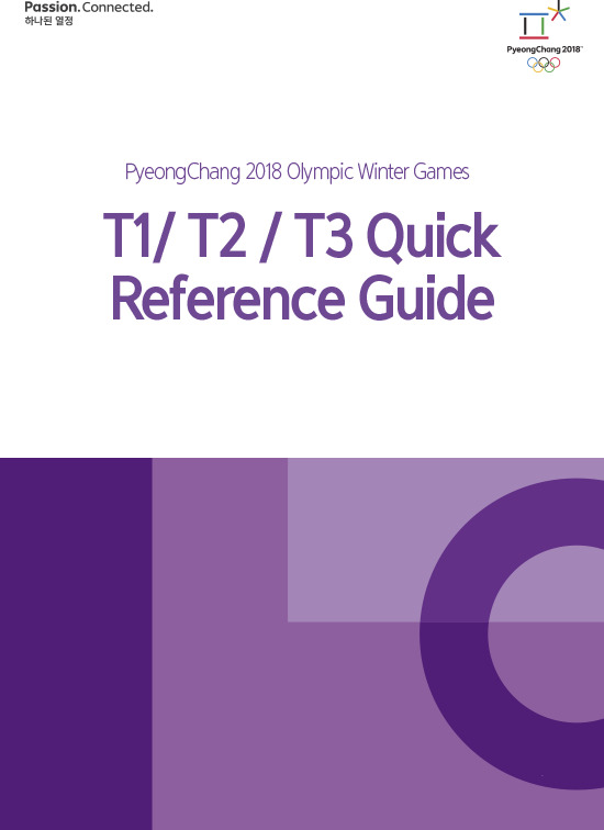T1/T2/T3 quick reference guide : PyeongChang 2018 Olympic Winter Games / The PyeongChang Organizing Committee for the 2018 Olympic & Paralympic Winter Games | Olympic Winter Games. Organizing Committee. 23, 2018, PyeongChang