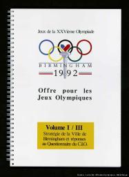 Offre pour les Jeux Olympiques : Birmingham 1992 : Jeux de la XXVème Olympiade  