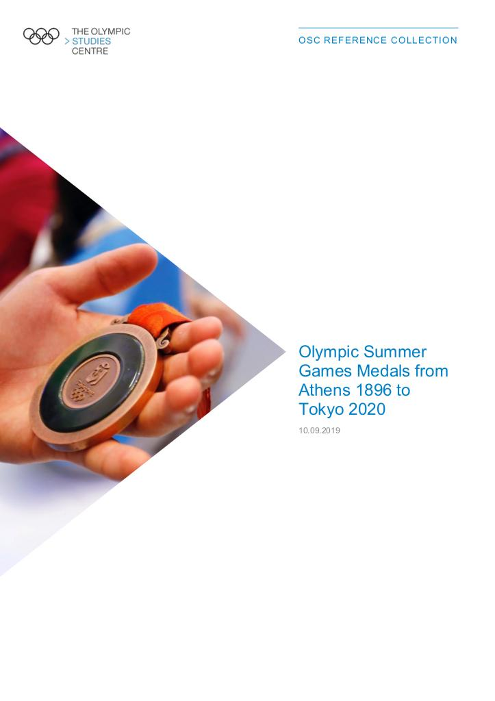 Olympic Summer Games medals from Athens 1896 to Tokyo 2020 / The Olympic Studies Centre | The Olympic Studies Centre