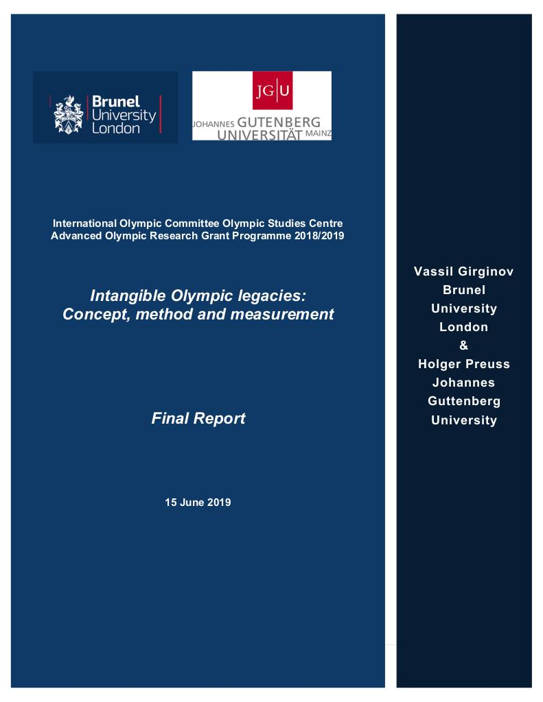 Intangible Olympic legacies : concept, method and measurement / Vassil Girginov & Holger Preuss | Girginov, Vassil
