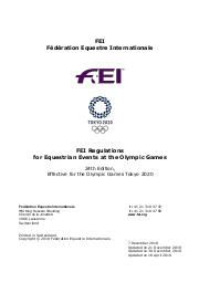 FEI regulations for equestrian events at the Olympic Games : effective for the Olympic Games Tokyo 2020 / Fédération Equestre Internationale   Fédération équestre internationale