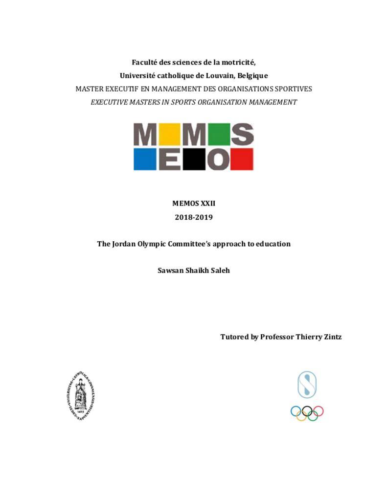 The Jordan Olympic Committee's approach to education / Sawsan Shaikh Saleh | Shaikh Saleh, Sawsan