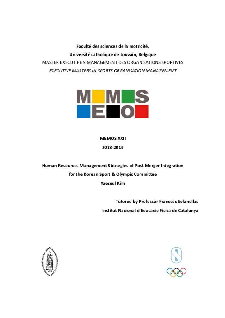 Human resources management strategies of post-merger integrationfor the Korean sport & Olympic Committee / Yaeseul Kim | Kim, Yaeseul