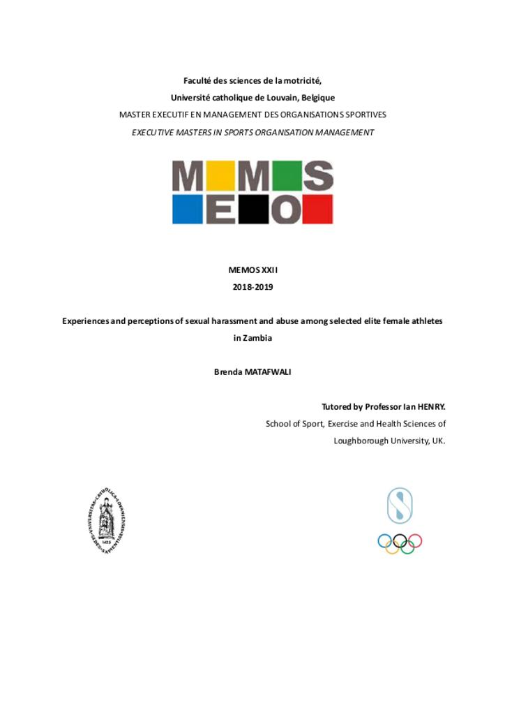 Experiences and perceptions of sexual harassment and abuse among selected elite female athletes in Zambia / Brenda Matafwali | Matafwali, Brenda