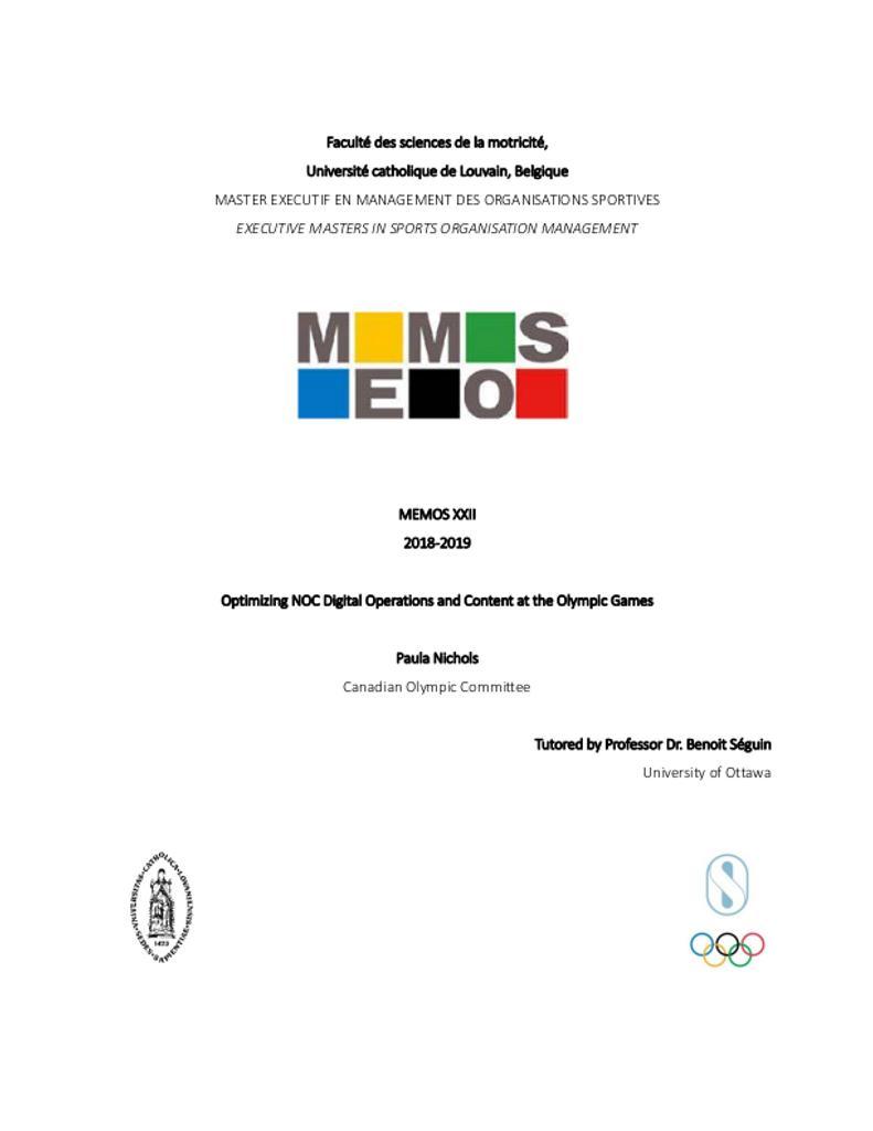 Optimizing NOC digital operations and content at the Olympic Games / Paula Nichols | Nichols, Paula