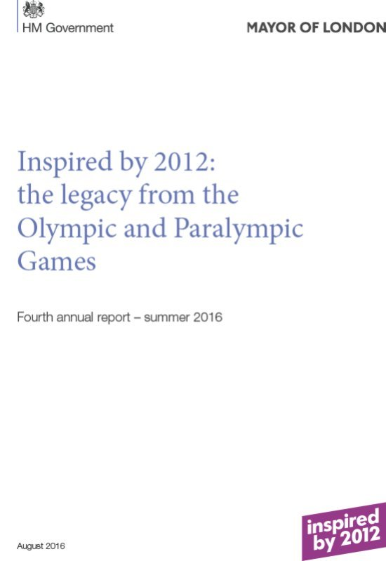 Inspired by 2012 : the legacy from the London 2012 Olympic and Paralympic Games : a joint UK Government and Mayor of London report | Great Britain. Government