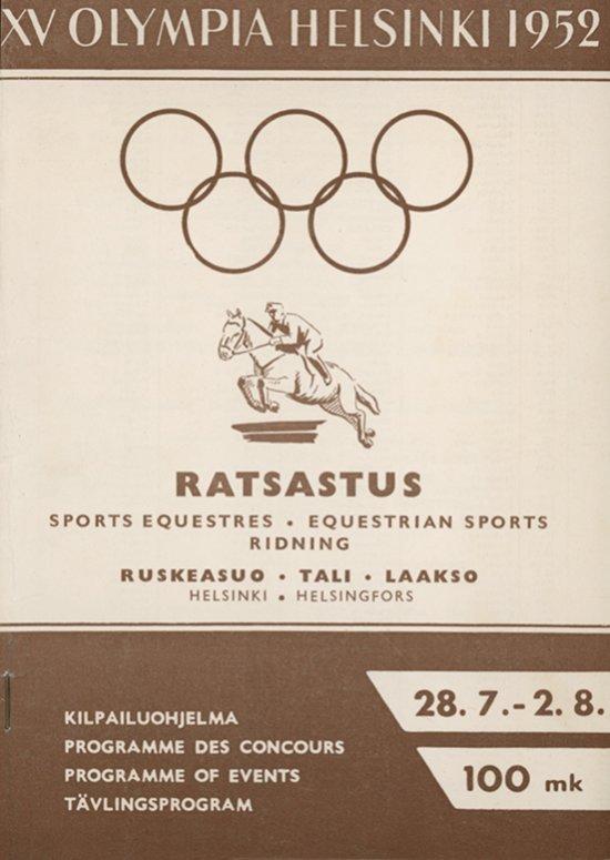 XV olympiade Heksinki 1952. Sports équestres / Comité organisateur des XVes Jeux olympiques Helsinki 1952 Helsinki. | Summer Olympic Games. Organizing Committee. 15, 1952, Helsinki