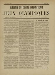 Bulletin du Comité International des Jeux Olympiques. Vol. 1, Juillet 1894 |